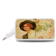 Lady On Vintage Postcard Vintage Floral French Postcard With Face Of Glamorous Woman Illustration Portable Speaker (White)