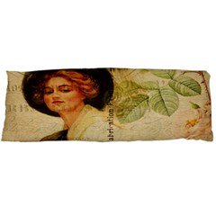 Lady On Vintage Postcard Vintage Floral French Postcard With Face Of Glamorous Woman Illustration Body Pillow Case Dakimakura (Two Sides)