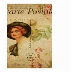 Lady On Vintage Postcard Vintage Floral French Postcard With Face Of Glamorous Woman Illustration Small Garden Flag (Two Sides)