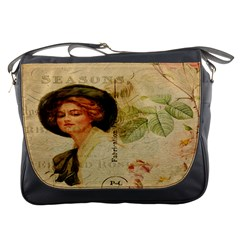 Lady On Vintage Postcard Vintage Floral French Postcard With Face Of Glamorous Woman Illustration Messenger Bags