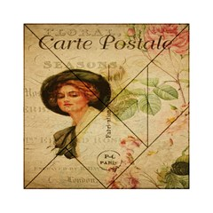 Lady On Vintage Postcard Vintage Floral French Postcard With Face Of Glamorous Woman Illustration Acrylic Tangram Puzzle (6  X 6 )