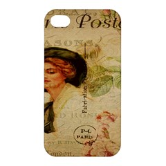 Lady On Vintage Postcard Vintage Floral French Postcard With Face Of Glamorous Woman Illustration Apple Iphone 4/4s Premium Hardshell Case