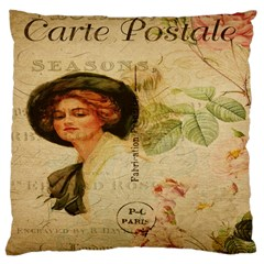 Lady On Vintage Postcard Vintage Floral French Postcard With Face Of Glamorous Woman Illustration Large Cushion Case (Two Sides)