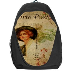 Lady On Vintage Postcard Vintage Floral French Postcard With Face Of Glamorous Woman Illustration Backpack Bag