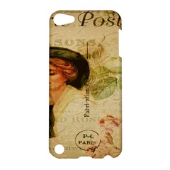 Lady On Vintage Postcard Vintage Floral French Postcard With Face Of Glamorous Woman Illustration Apple iPod Touch 5 Hardshell Case