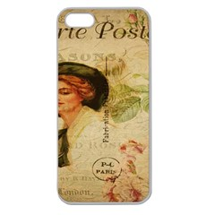 Lady On Vintage Postcard Vintage Floral French Postcard With Face Of Glamorous Woman Illustration Apple Seamless iPhone 5 Case (Clear)