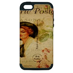Lady On Vintage Postcard Vintage Floral French Postcard With Face Of Glamorous Woman Illustration Apple iPhone 5 Hardshell Case (PC+Silicone)