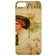 Lady On Vintage Postcard Vintage Floral French Postcard With Face Of Glamorous Woman Illustration Apple iPhone 5 Classic Hardshell Case