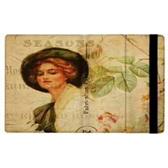 Lady On Vintage Postcard Vintage Floral French Postcard With Face Of Glamorous Woman Illustration Apple iPad 3/4 Flip Case