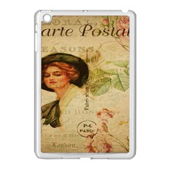 Lady On Vintage Postcard Vintage Floral French Postcard With Face Of Glamorous Woman Illustration Apple iPad Mini Case (White)