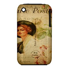 Lady On Vintage Postcard Vintage Floral French Postcard With Face Of Glamorous Woman Illustration Iphone 3s/3gs