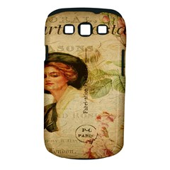 Lady On Vintage Postcard Vintage Floral French Postcard With Face Of Glamorous Woman Illustration Samsung Galaxy S III Classic Hardshell Case (PC+Silicone)