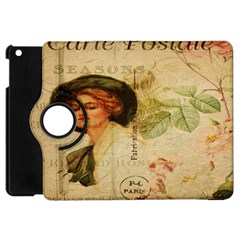 Lady On Vintage Postcard Vintage Floral French Postcard With Face Of Glamorous Woman Illustration Apple iPad Mini Flip 360 Case