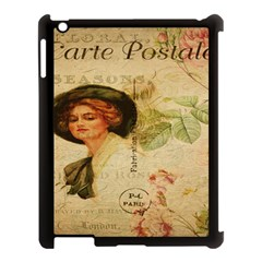 Lady On Vintage Postcard Vintage Floral French Postcard With Face Of Glamorous Woman Illustration Apple Ipad 3/4 Case (black)