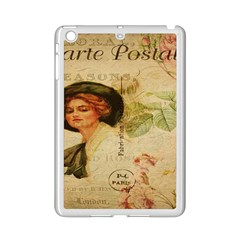 Lady On Vintage Postcard Vintage Floral French Postcard With Face Of Glamorous Woman Illustration iPad Mini 2 Enamel Coated Cases