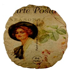 Lady On Vintage Postcard Vintage Floral French Postcard With Face Of Glamorous Woman Illustration Large 18  Premium Round Cushions