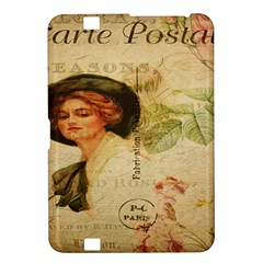 Lady On Vintage Postcard Vintage Floral French Postcard With Face Of Glamorous Woman Illustration Kindle Fire HD 8.9