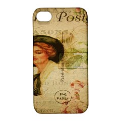 Lady On Vintage Postcard Vintage Floral French Postcard With Face Of Glamorous Woman Illustration Apple iPhone 4/4S Hardshell Case with Stand