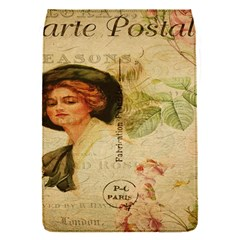 Lady On Vintage Postcard Vintage Floral French Postcard With Face Of Glamorous Woman Illustration Flap Covers (S)