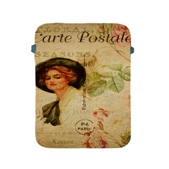 Lady On Vintage Postcard Vintage Floral French Postcard With Face Of Glamorous Woman Illustration Apple iPad 2/3/4 Protective Soft Cases