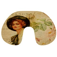 Lady On Vintage Postcard Vintage Floral French Postcard With Face Of Glamorous Woman Illustration Travel Neck Pillows