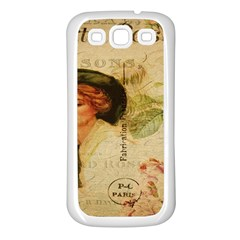 Lady On Vintage Postcard Vintage Floral French Postcard With Face Of Glamorous Woman Illustration Samsung Galaxy S3 Back Case (White)