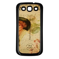 Lady On Vintage Postcard Vintage Floral French Postcard With Face Of Glamorous Woman Illustration Samsung Galaxy S3 Back Case (Black)