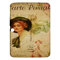 Lady On Vintage Postcard Vintage Floral French Postcard With Face Of Glamorous Woman Illustration Samsung Galaxy Tab 3 (10.1 ) P5200 Hardshell Case