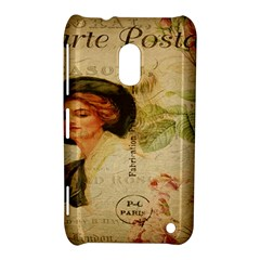 Lady On Vintage Postcard Vintage Floral French Postcard With Face Of Glamorous Woman Illustration Nokia Lumia 620