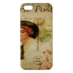 Lady On Vintage Postcard Vintage Floral French Postcard With Face Of Glamorous Woman Illustration iPhone 5S/ SE Premium Hardshell Case