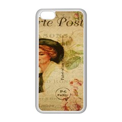 Lady On Vintage Postcard Vintage Floral French Postcard With Face Of Glamorous Woman Illustration Apple iPhone 5C Seamless Case (White)