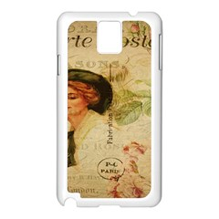 Lady On Vintage Postcard Vintage Floral French Postcard With Face Of Glamorous Woman Illustration Samsung Galaxy Note 3 N9005 Case (White)