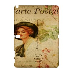 Lady On Vintage Postcard Vintage Floral French Postcard With Face Of Glamorous Woman Illustration Galaxy Note 1