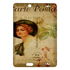 Lady On Vintage Postcard Vintage Floral French Postcard With Face Of Glamorous Woman Illustration Amazon Kindle Fire HD (2013) Hardshell Case