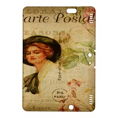Lady On Vintage Postcard Vintage Floral French Postcard With Face Of Glamorous Woman Illustration Kindle Fire HDX 8.9  Hardshell Case