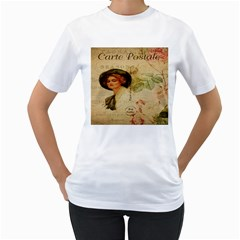 Lady On Vintage Postcard Vintage Floral French Postcard With Face Of Glamorous Woman Illustration Women s T-Shirt (White)