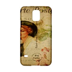 Lady On Vintage Postcard Vintage Floral French Postcard With Face Of Glamorous Woman Illustration Samsung Galaxy S5 Hardshell Case