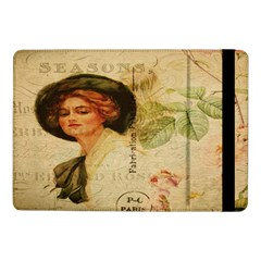 Lady On Vintage Postcard Vintage Floral French Postcard With Face Of Glamorous Woman Illustration Samsung Galaxy Tab Pro 10 1  Flip Case