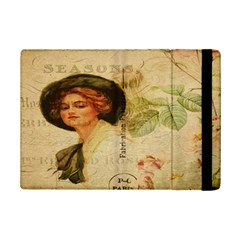 Lady On Vintage Postcard Vintage Floral French Postcard With Face Of Glamorous Woman Illustration iPad Mini 2 Flip Cases