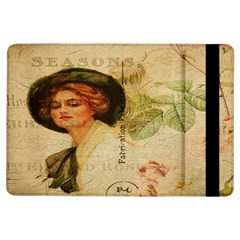 Lady On Vintage Postcard Vintage Floral French Postcard With Face Of Glamorous Woman Illustration iPad Air Flip