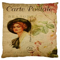 Lady On Vintage Postcard Vintage Floral French Postcard With Face Of Glamorous Woman Illustration Large Flano Cushion Case (Two Sides)