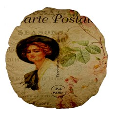 Lady On Vintage Postcard Vintage Floral French Postcard With Face Of Glamorous Woman Illustration Large 18  Premium Flano Round Cushions