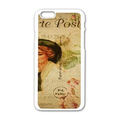 Lady On Vintage Postcard Vintage Floral French Postcard With Face Of Glamorous Woman Illustration Apple iPhone 6/6S White Enamel Case