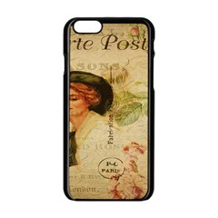 Lady On Vintage Postcard Vintage Floral French Postcard With Face Of Glamorous Woman Illustration Apple iPhone 6/6S Black Enamel Case