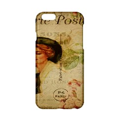 Lady On Vintage Postcard Vintage Floral French Postcard With Face Of Glamorous Woman Illustration Apple iPhone 6/6S Hardshell Case