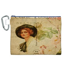 Lady On Vintage Postcard Vintage Floral French Postcard With Face Of Glamorous Woman Illustration Canvas Cosmetic Bag (XL)