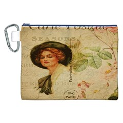 Lady On Vintage Postcard Vintage Floral French Postcard With Face Of Glamorous Woman Illustration Canvas Cosmetic Bag (XXL)
