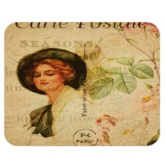 Lady On Vintage Postcard Vintage Floral French Postcard With Face Of Glamorous Woman Illustration Double Sided Flano Blanket (Medium)