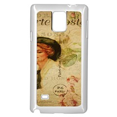 Lady On Vintage Postcard Vintage Floral French Postcard With Face Of Glamorous Woman Illustration Samsung Galaxy Note 4 Case (white)