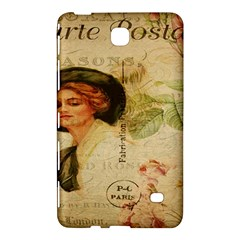 Lady On Vintage Postcard Vintage Floral French Postcard With Face Of Glamorous Woman Illustration Samsung Galaxy Tab 4 (7 ) Hardshell Case